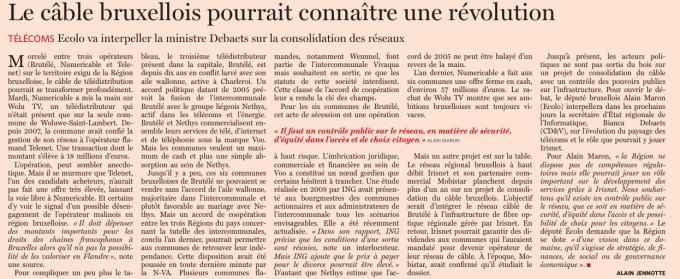 20150702 - Le Soir - article cablodistributeurs